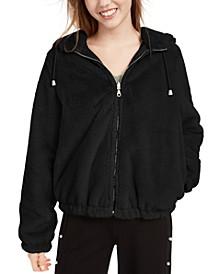 Juniors'  Reversible Cropped Hooded Faux-Fur Coat