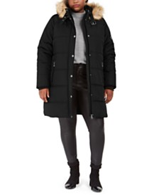 Maralyn & Me Juniors' Plus Size Faux-Fur-Trim Hooded Puffer Coat