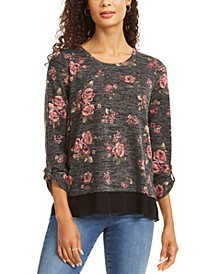 Floral-Print Layered-Look Top, Created for Macy's