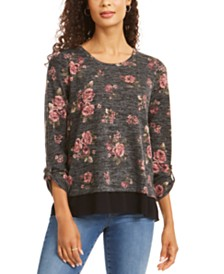 Style & Co Petite Floral Split Back Top, Created for Macy's