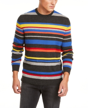 Vintage Sweaters & Cardigans: 1940s, 1950s, 1960s Club Room Mens Regular-Fit Stripe Cashmere Sweater Created for Macys $87.50 AT vintagedancer.com