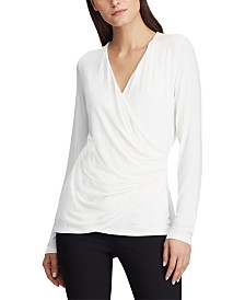 Lauren Ralph Lauren Wrap-Front Long-Sleeve Top