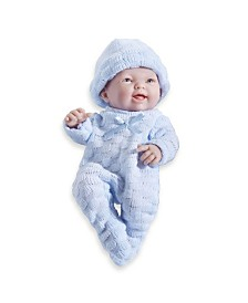 JC Toys, Mini La Newborn All Vinyl Smiling Realistic 9.5 inch Anatomically Correct Real Boy Baby Doll dressed in BLUE - For Children 2 Years and older, Designed by Berenguer.