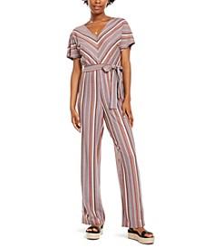 Juniors' Multi-Stripe Kimono-Sleeve Jumpsuit