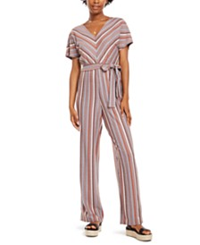 Crystal Doll Juniors' Multi-Stripe Kimono-Sleeve Jumpsuit