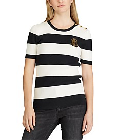 Lauren Ralph Lauren Stripe-Print Button-Trim Monogrammed Sweater
