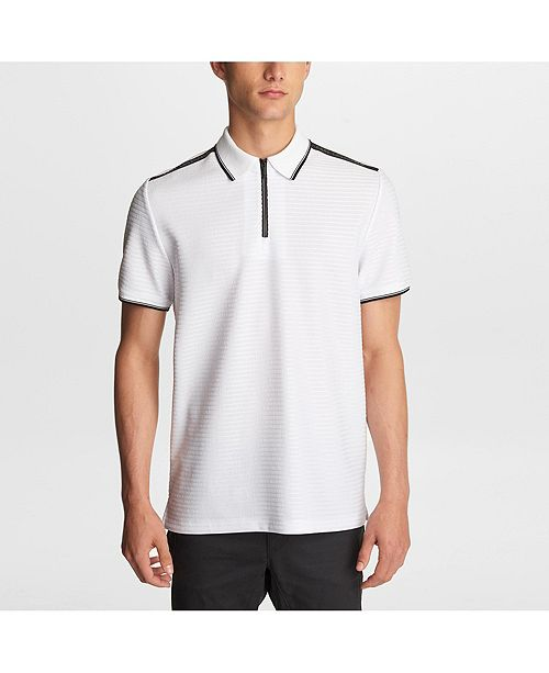 Karl Lagerfeld Paris Men's  Zip Front  Polo With Logo Tape On Shoulders