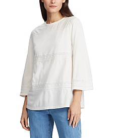 Lauren Ralph Lauren Lace-Trim Knit Cotton Top