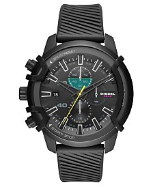Diesel Men's Chronograph Griffed Black Silicone Strap Watch 48mm