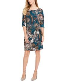 Robbie Bee Petite Printed Side-Tie Sarong Dress
