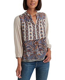 Rami Printed Peasant Top