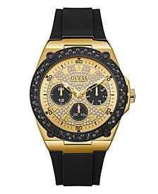 Men's Black and Gold-Tone with Crystal Accents and Silicone Strap Watch 45mm