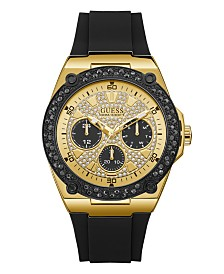 GUESS Men's Black and Gold-Tone with Crystal Accents and Silicone Strap Watch 45mm