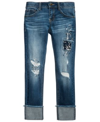 Big Girls Ripped Patched Jeans