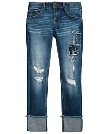 Vanilla Star Big Girls Ripped Patched Jeans