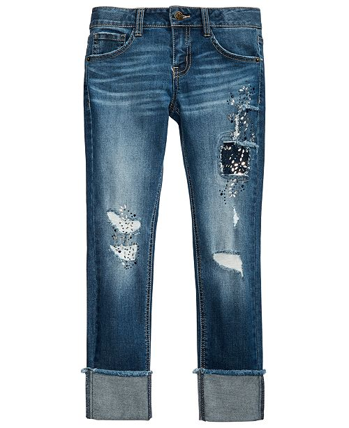 Imperial Star Big Girls Ripped Patched Jeans