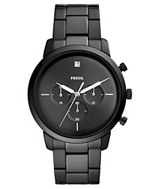 Fossil Men's Chronograph Neutra Diamond-Accent Black Stainless Steel Bracelet Watch 44mm