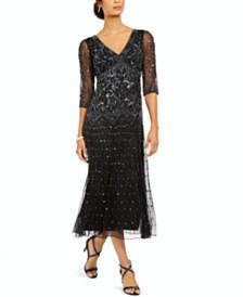 J Kara Embellished Sheer-Sleeve Gown