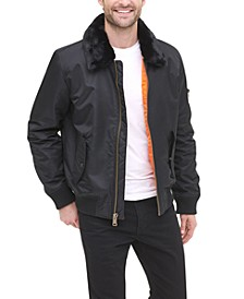 Men's Big & Tall Flight Bomber Jacket with Detachable Faux Fur Collar, Created for Macy's