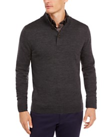 Tasso Elba Men's Solid Mock-Collar Sweater, Created for Macy's