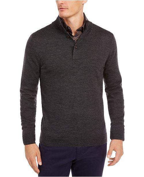 Tasso Elba Men's Solid Mock-Collar Sweater, Created for Macy's