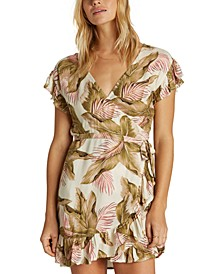 Juniors' Ruffled Wrap Dress