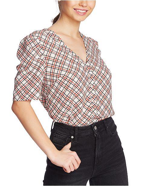 1.STATE Plaid Puff-Sleeve Shirt