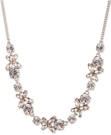 "Givenchy Crystal Flower Collar Necklace, 16"" + 3"" extender"