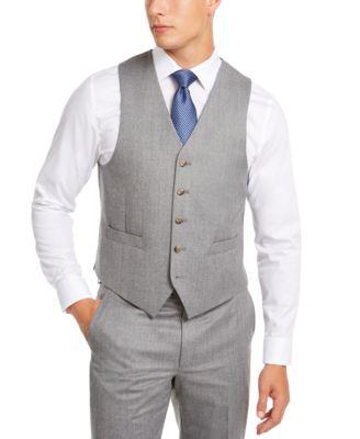 Men's Classic-Fit UltraFlex Stretch Light Gray Suit Separate Vest