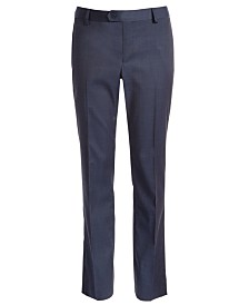 DKNY Big Boys Classic-Fit Stretch Navy Blue Neat Suit Pants