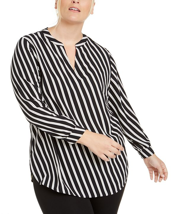 Anne Klein Plus Size Striped Blouse