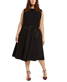 Plus Size Faux-Suede-Trim Midi Dress