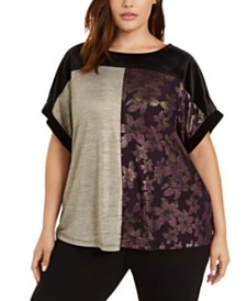 Calvin Klein Plus Size Colorblocked Top