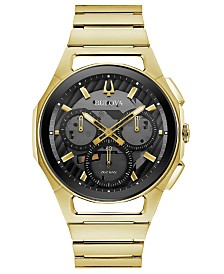 Bulova Men's Chronograph Curv Progressive Sport Gold-Tone Stainless Steel Bracelet Watch 44mm