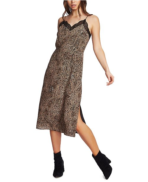 1.STATE Leopard Printed Lace-Trimmed Cami Midi Dress
