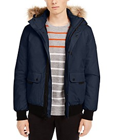 Men's Bomber Parka with Faux Fur Hood