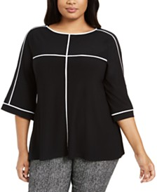 Alfani Plus Size Piping-Trim Bell-Sleeve Top, Created for Macy's
