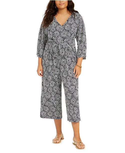 NY Collection Plus Size Printed Tie-Front Jumpsuit