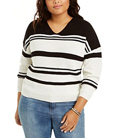 Trendy Plus Size Striped V-Neck Lace-Up Back Sweater