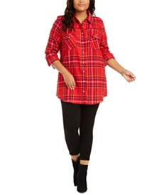 Planet Gold Trendy Plus Size Snap Plaid Shirt