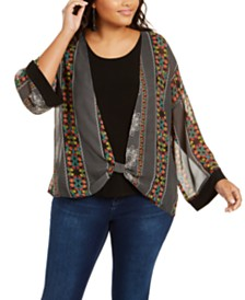 NY Collection Plus Size Knot-Front Layered-Look Top