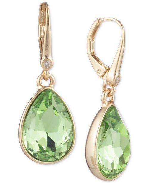 DKNY Gold-Tone Pavé & Stone Drop Earrings