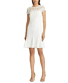 Lauren Ralph Lauren Floral-Lace-Panel Scalloped Jersey Dress