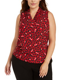 Anne Klein Plus Size Dotted V-Neck Top