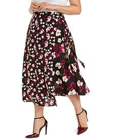 Plus Size Floral-Print Wrap Skirt