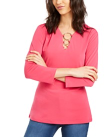 I.N.C. O-Ring V-Neck Top, Created for Macy's