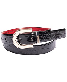 INC Saffiano to Smooth Faux-Leather Reversible Belt, Created for Macy's