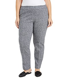 Plus Size Jacquard Straight-Leg Pants, Created for Macy's