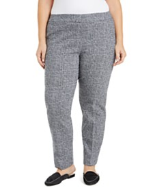 JM Collection Plus Size Jacquard Straight-Leg Pants, Created for Macy's