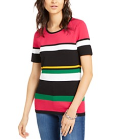 I.N.C. Striped Short-Sleeve Sweater, Created for Macy's